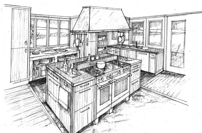 Line Drawing Interior Space : Kitchen design drawings and interior photos by joan